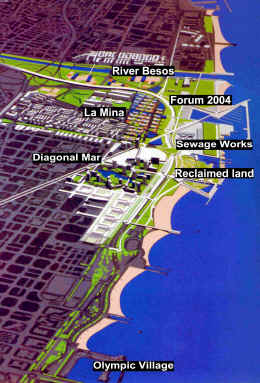 The location of Diagonal Mar, Forum 2004 and La Mina