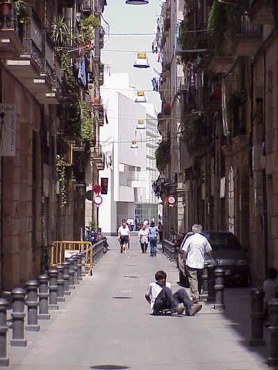 El Raval: Contemporary Art Museum viewed through an adjacent street