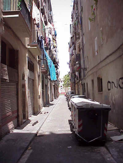 El Raval: the Rambla at the end of the street adds new light to the surroundings