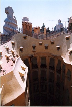 View from the roof terrace of La Pedrera