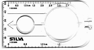 Compass reading: only this rectangular compass base should be rotated