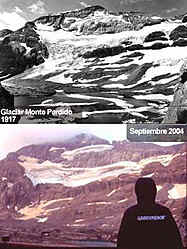 Images of the Perdido Glacier, Spanish Pyrenees, 1917 and 2004