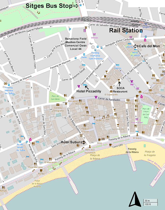 Sitges Hotel, Bus Stop and Restaurant Location Map